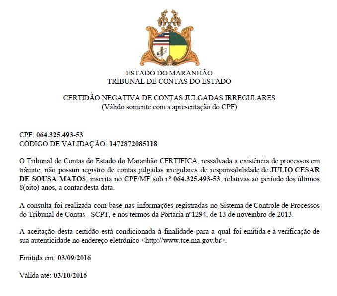 Certidão do TCE mostra que Dr. Julinho estar apto a disputar eleição em São José de Ribamar