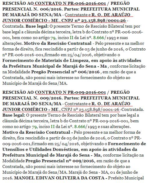 Temendo ser investigada pela Policia Federal, Prefeitura de Marajá do Sena cancelou contrato com empresa inativa.