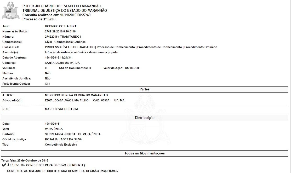Processo contra Marlon Cutrim tramita desde o dia 19 de outubro.